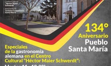 Santa María festeja su 134° aniversario con ciclos de gastronomía alemana