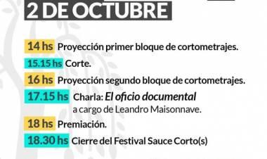¡Se viene el Festival Sauce Corto(s), dos días a puro cine, y te compartimos el cronograma del sábado 2 de Octubre para que no te lo pierdas!