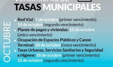 Vencimiento de tasas municipales del mes de Octubre