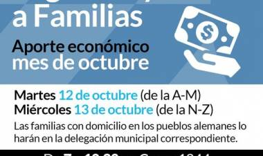 Desarrollo Social:Pago de ayudas a familias del mes de octubre